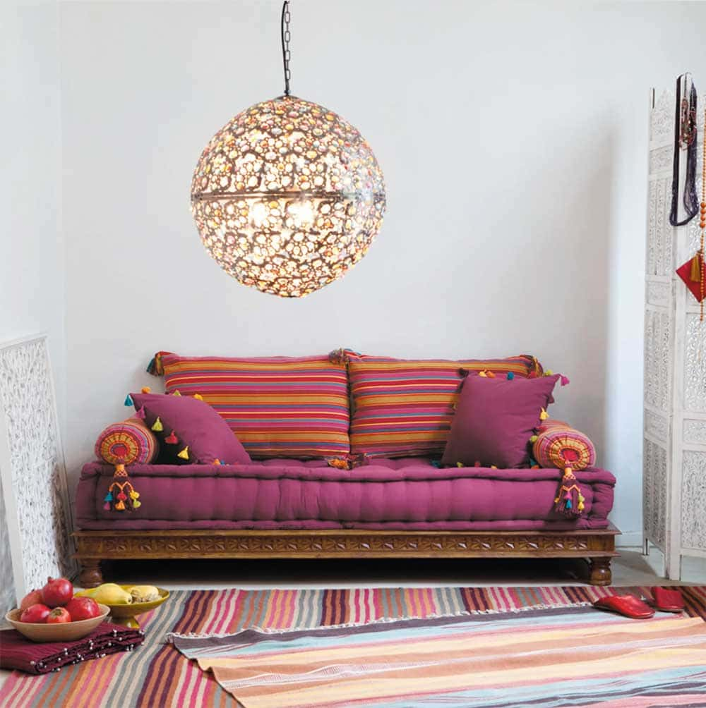 Banquette multicolore sans accoudoir Pondichery de Maisons du Monde - Decorazine.fr
